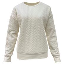 2021 Customized Fashion Women Knitting Pullover Crew Neck Jacquard Sweater