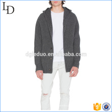 Side welt pockets buttons cardigans sweater oem service with hood sweater