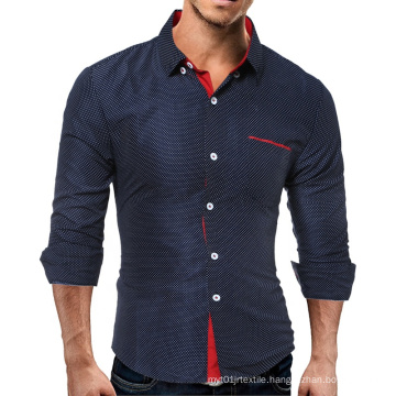 2021 Spring Men's Contrast Personality Wave Point Long Sleeve Slim Shirt Casual
