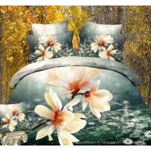 Draps de lit en tissu imprimé de belles fleurs