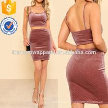 Урожай бархат верхней и bodycon юбка Производство Оптовая продажа женской одежды (TA4102SS)