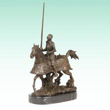 Armor Knight Metal Sculpture Soldier Deco Horse Bronze Statue Tpy-459