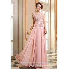 Alibaba Elegante Applique luz rosa largo gasa O cuello playa encaje vestidos de noche o vestido de dama de honor con cuentas LE18