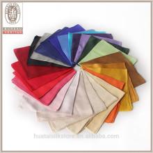 Solid color dyeing custom 100% silk mens pocket squares