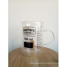 Haonai 350ml heat resistant glass mug glass coffee mug double wall glass mug with oem brand