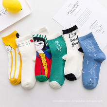 2020 Wholesale Cartoon art cotton children interest socks mid-calf length novelti sock for woman