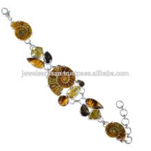 Designer Ammonite E Multi Gemstone 925 Sterling Silver Bracelet Jewelry