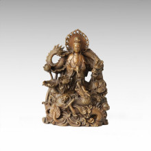 Buddha-Statue Doppel-Drachen Avalokitesvara Bronze-Skulptur Tpfx-062