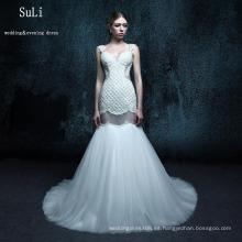 ZXB26 blanco de encaje de sirena abierta trasera de cuentas de Alibaba vestido de novia 2015
