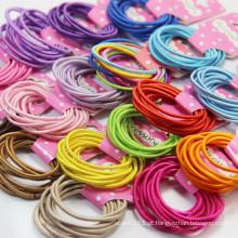 10 peças de cartão embalado cores misturadas elásticas bandas de cabelo (je1501)