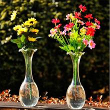 Mão, soprado, transparente, flor, vidro, vaso, cristal, vaso