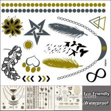 Tatouages d'ailes de bricolage Design Autocollants de tatouage en or Autocollant de tatouage temporaire à l'épreuve de l'eau YS014