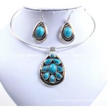 Belle pierre d'imitation ovale, pierre turquoise, ensemble Lady Necklace (XJW12600)