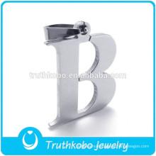 L-P0040 Vacuun Shiny Plated Stainless Steel English Letter Pendants Alphabet B Original Color wholesale for Children