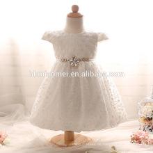 New Günstige Baby Mädchen Short Taufkleid mit Schleife Spitze Perlen O Neck Taufe Kleid Geburtstag Kleid Weiß / Pink