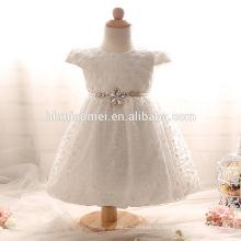 Новый дешевый новорожденных девочек короткие крестины платье с бантом бисером o-образным вырезом Крещение платье день рождения платье белый/розовый