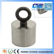Powerful NdFeB M10 Eyebolt D80X65mm Pot Magnet