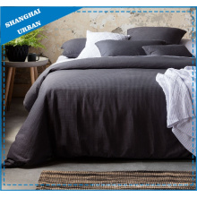 Solid Charcoal Waffle-Design Polyester Duvet Cover Set