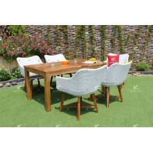 Rattan de lujo 6 sillas y tabla del PE 6 fijaron para los muebles de jardín al aire libre