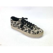 Senhoras Lace-Up Chunky Espadrille Flatform Brogue sapatos