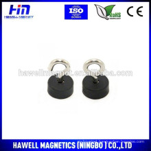 neodymium pot magnet, rubber coated 22mmdiax10mm pot with M5 hook or eyebolt