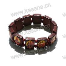 Dark Coffee Catholic Bead Wooden Rosary Bracelet