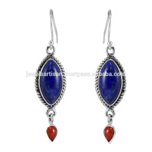 Designer Lapis E Coral Gemstone 925 Sterling Silver Earring Jewelry