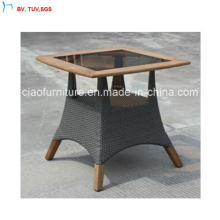 C-Foshan Outdoor Patio Rattan Square Table with Teak-Wood