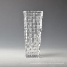 Handgemachte quadratische Glasvase mit gewebtem Muster
