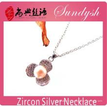 Mode à la main zircone fleur charmes pendentif à longue chaîne collier