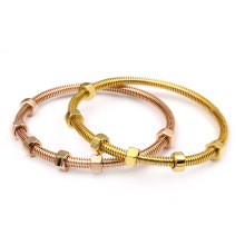 Custom Rose Gold Plated Stainess Steel Nuts Bangle
