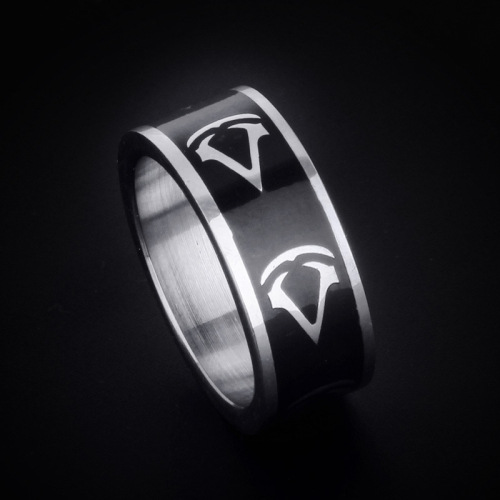 Letter Pattern Black Ring Designs Silver Color Ring