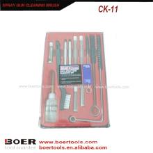 11pcs Spritzpistole Air Tools Reinigungsbürste Kit Kunststoff-Box Verpackung