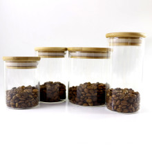 Glass Jar Container With Bamboo Lid For kitchen food container Storage-153RL