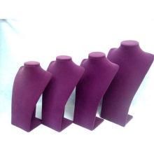Nuevo soporte del collar de la exhibición de la joyería del terciopelo púrpura de la manera (NS-GV-Serie PV)