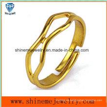 Anillo abierto anillo de acero inoxidable único anillo de joyas plateadas (SSR2772)