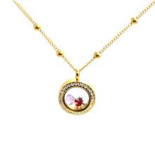 Красивый из нержавеющей стали с плавающей медальон новая Золотая цепочка на шее девушки