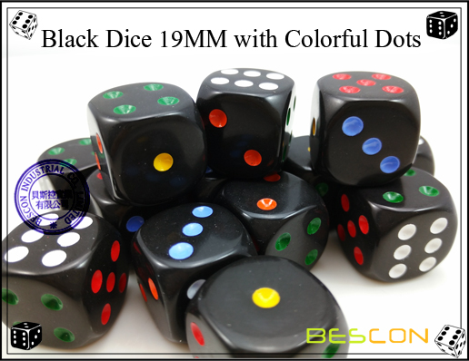 Black Dice 19MM with Colorful Dots-3