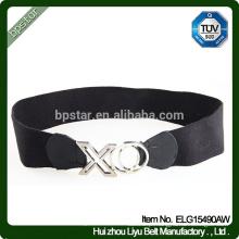 New Design Elegant Lady Wide Elastic Waistband. Vestuário Black Alloy Buckle Belt For Dress
