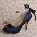 Ankle Strap Navy Blue Satin Shoes untuk Pesta