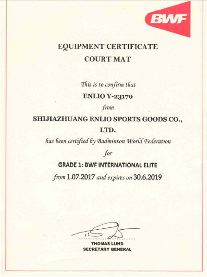 BWF certificate for Y23170