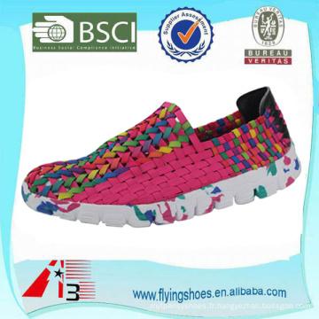 Usine de porcelaine homme femmes tissées chaussures à tisser, ceinture élastique tricot à main chaussures, chaussures élastiques tissées à la main