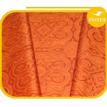 Africain Ghalila Textiles New Orange Coton Jacquard Tissu Bazin Riche Pour Les Femmes Vêtements