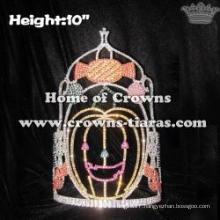 10in Big Pumpkin Candy Cane Rhinestone Crystal Crowns