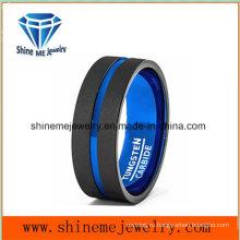 Синий внутри черный снаружи матовый вольфрама кольцо ювелирных изделий