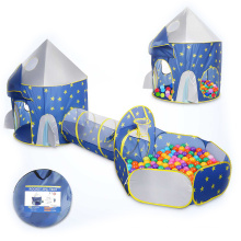 3 in 1 Kids Ball Pit Play Tent with Crawl Tunnel, Pop-Up Rocket Shape with Stars Theme for Boys and Girls Baby gifts