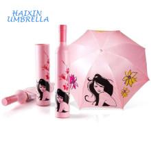 Custom Advertising Wedding Return Give Away Gift Item Wine Bottle Shape Umbrella Promotional Umbrellas with Logo Printing