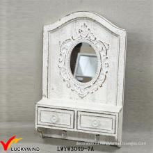 2 ящика 2 Крючки массивного дерева ретро белое деревенское зеркало с полкой