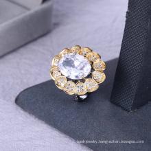 High quality black gun plated ring white big stone ring women