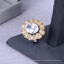Alta qualidade preto gun chapeado anel branco grande anel de pedra mulheres